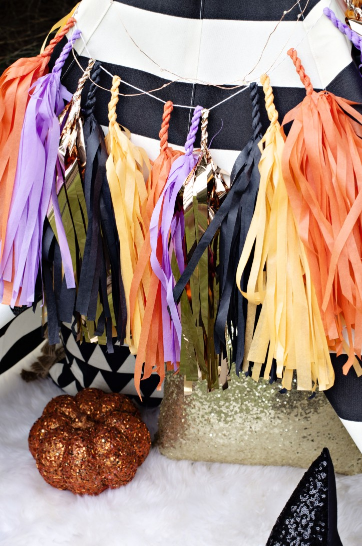 Glam Fete Tissue Paper Tassel Garland \ Fall decor and Halloween Party