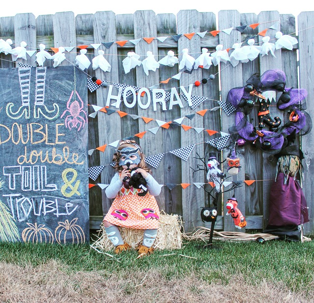 Glam Fete Hooray silver glitter word banner with wool balls \ Fall decor and Halloween Party